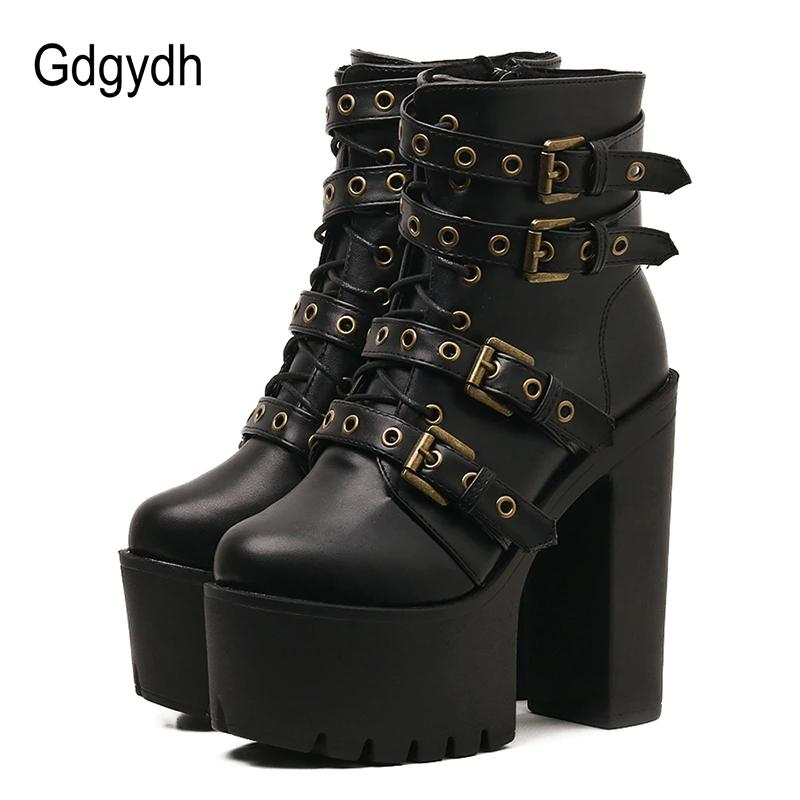 452104073 Compre Gdgydh Remache Sexy Botines Negros Plataforma De Mujer Cuero Suave  Otoño Invierno Botas Para Mujer Con Cremallera Zapatos De Tacones Ultra  Altos A ...
