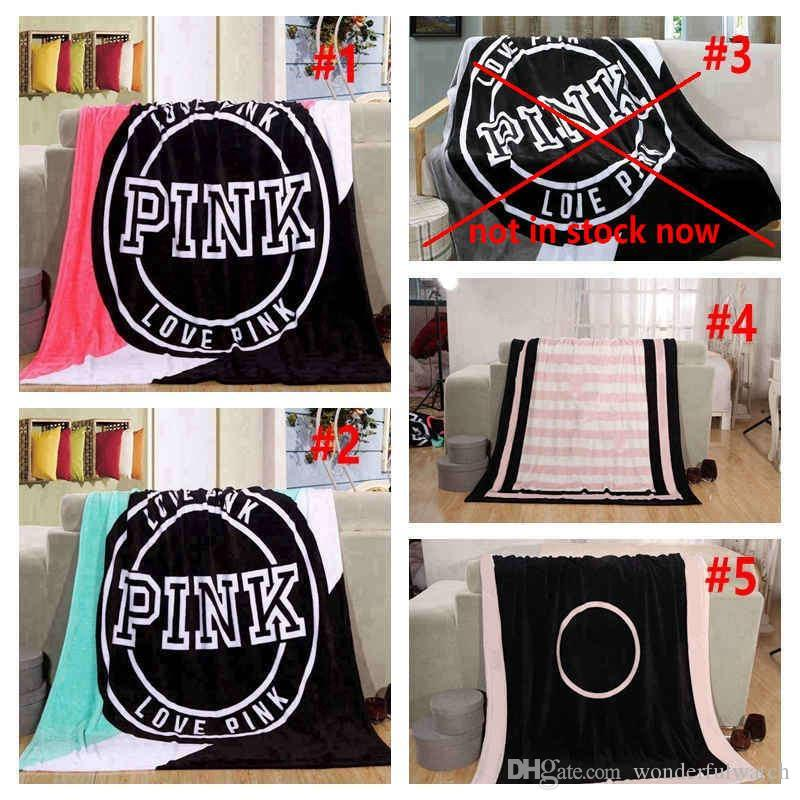 5 Colors Love Pink Letter Blanket 130*150cm Soft Coral Velvet Beach Towel Blankets Air Conditioning Rugs Comfortable Carpet 10pcs
