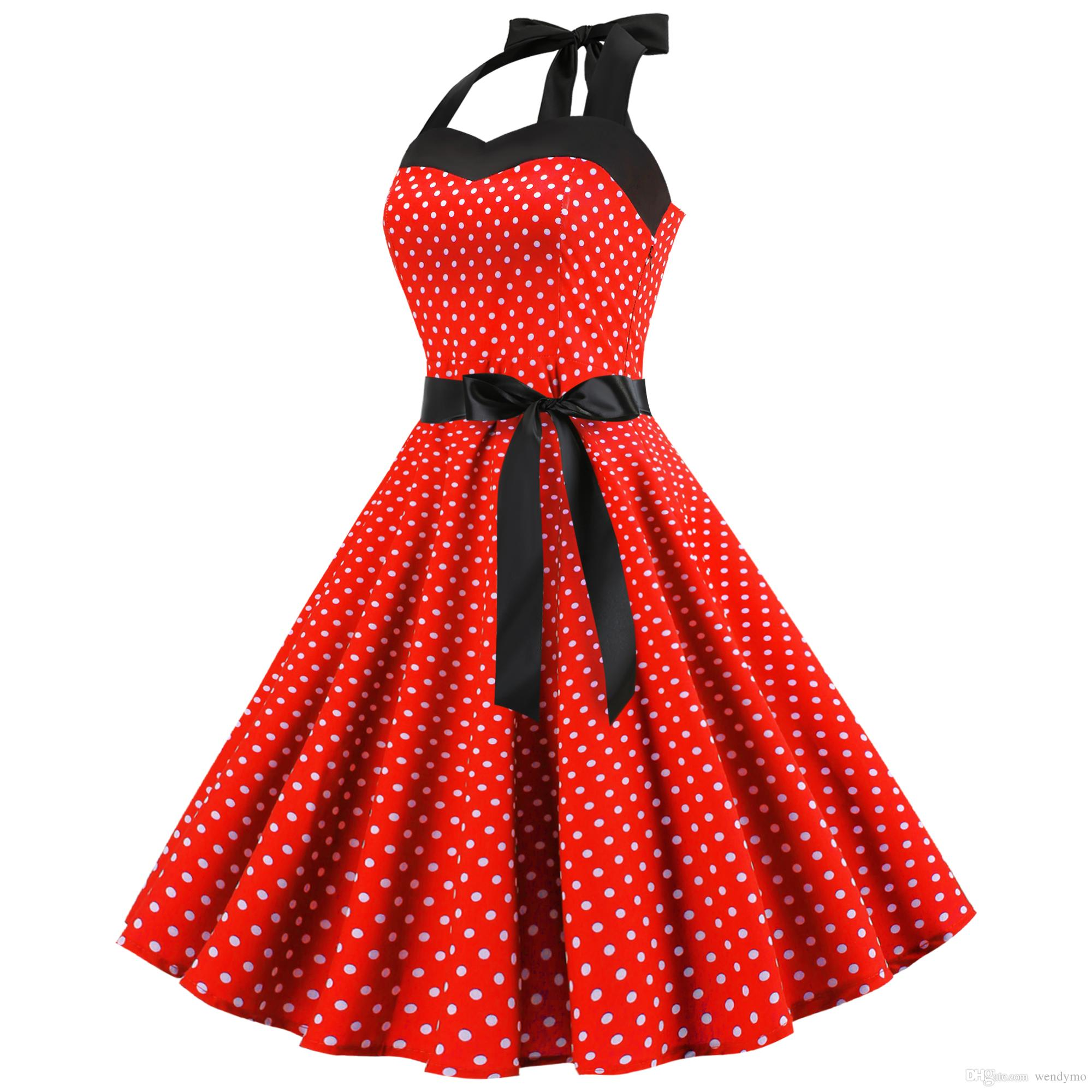 8e0138f859a9 2019 Sexy Halter Party Dress Women Retro Dress Polka Dot Hepburn Vintage  Pin Up Rockabilly Dresses Robe Plus Size Midi Jurken From Wendymo, $60.21 |  DHgate.