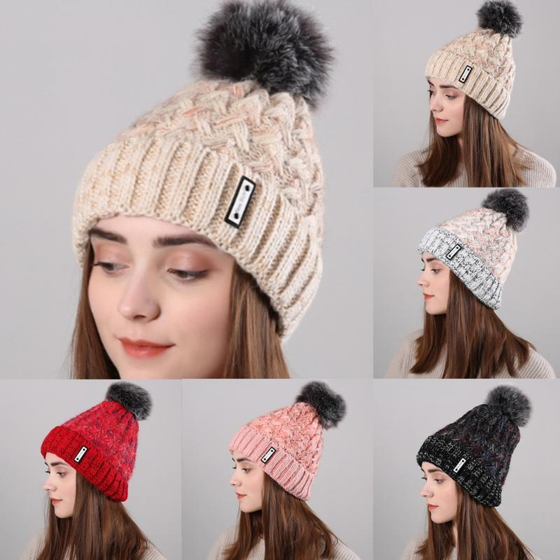 51bd812eaf2 Fashionable Women Winter Warm Beanie Cap Wool Knitted Faux Fur Ball Hat  Skullies   Beanies Cheap Skullies   Beanies Fashionable Women Winter Warm Beanie  Cap ...