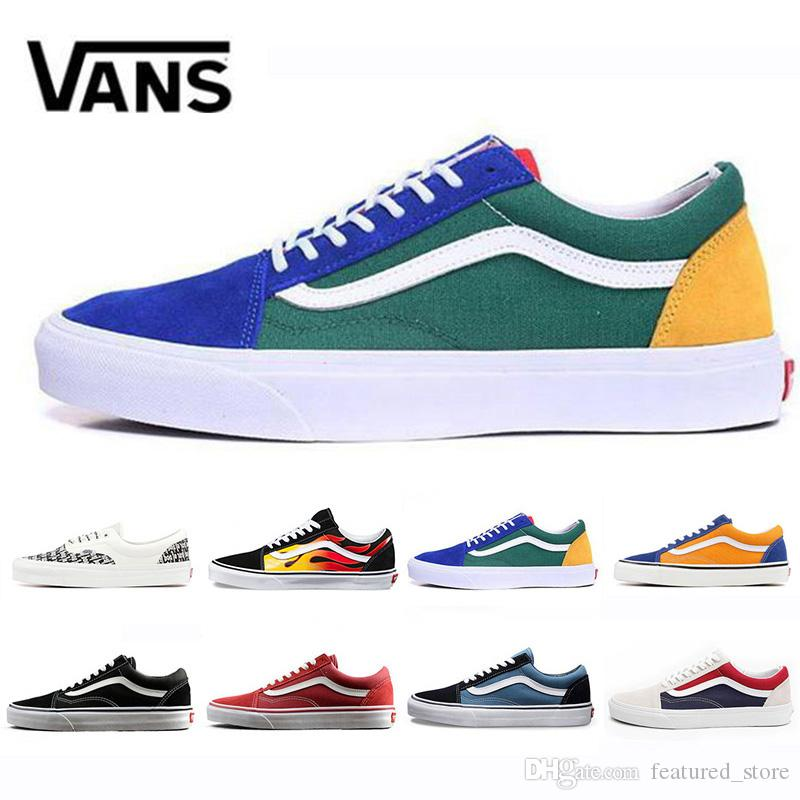 New VANS Flames Original old skool Casual shoes black blue red Classic mens women canvas sneakers Cool Skateboarding Leisure shoes 36 44
