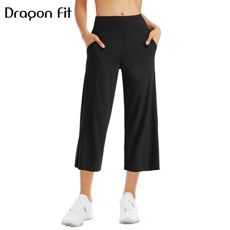Dragon Fit Flare Yoga Capris Pants Women High Waist Athletic Yoga Pants With Pockets Wide Leg Running Workout Bootleg