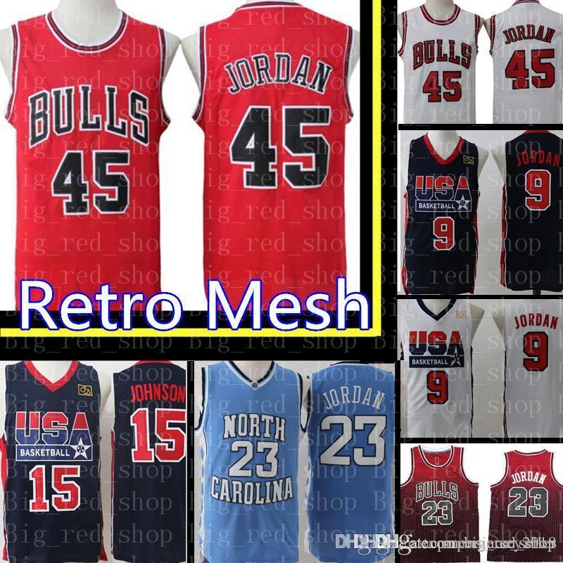 finest selection edc7d e8e51 45 Michael Chicago Bull USA 9 Michael 15 Jersey Bulls Retro Mesh Embroidery  Basketball Jerseys Cheap wholesale S-XXL