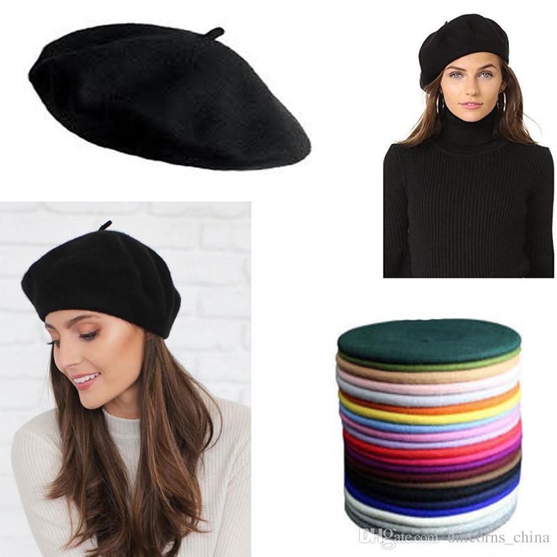 6ef385c76 Beret Hat Solid Wool French Artist Warm Beanie Hat Winter Ski Cap Plain  Beret Hat Wool CNY842