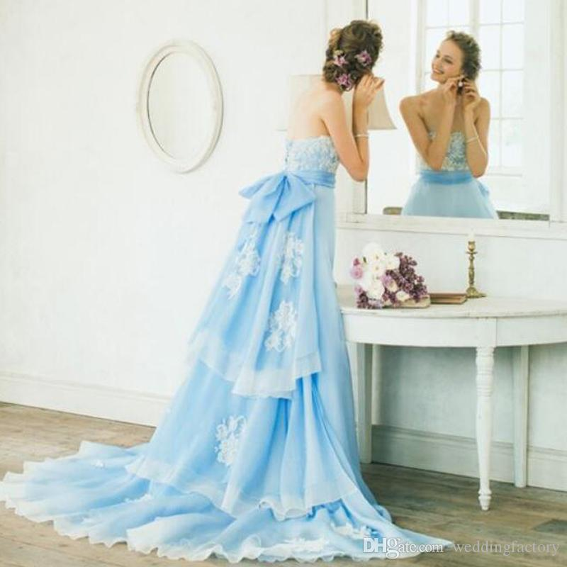 6658f73ae43e0 Discount 2019 Light Sky Blue Colored A Line Wedding Dresses Strapless  Sleeveless Lace Appliques Dettachable Tiered Train Bow Sash Bridal Gowns  Dress Dresses ...