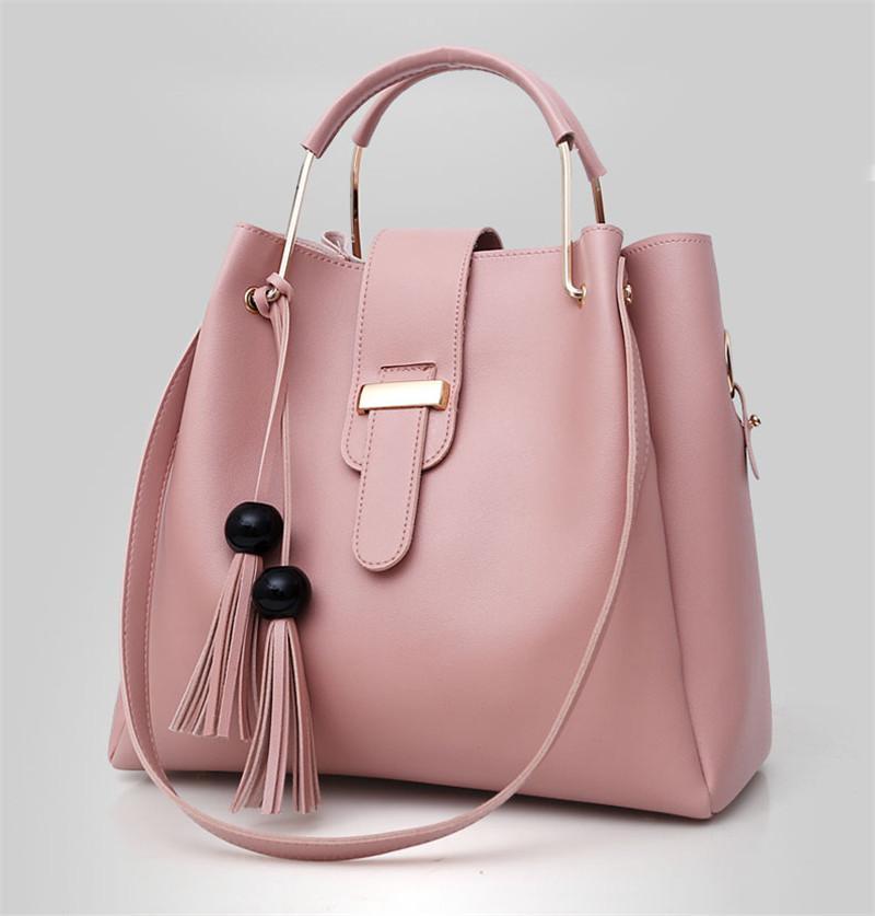 637143c87e7b Miyaco женщины кожаные сумки повседневная коричневый сумки через плечо сумка  ТОП ручка сумка с кисточкой и пушистый мяч