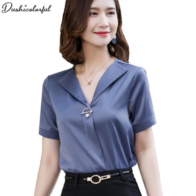 various colors d59e6 75eb6 camicetta donna plus size donna camicette e camicette donna bianca rosa  camicie camicia raso da donna ufficio elegante casual 2019