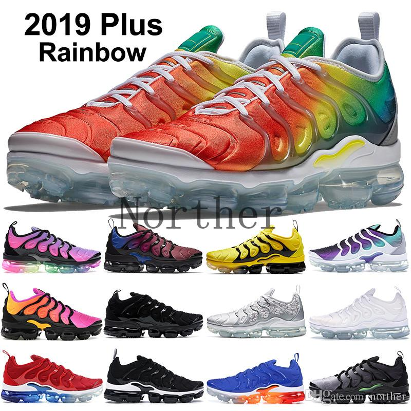 2019 Nike Vapormax Plus Tn Rainbow Running Shoes mens Bumblebee Be True Grape Triple Black Designer Shoes Womens Sherbet Team Rojo Negro Blanco Zapatillas