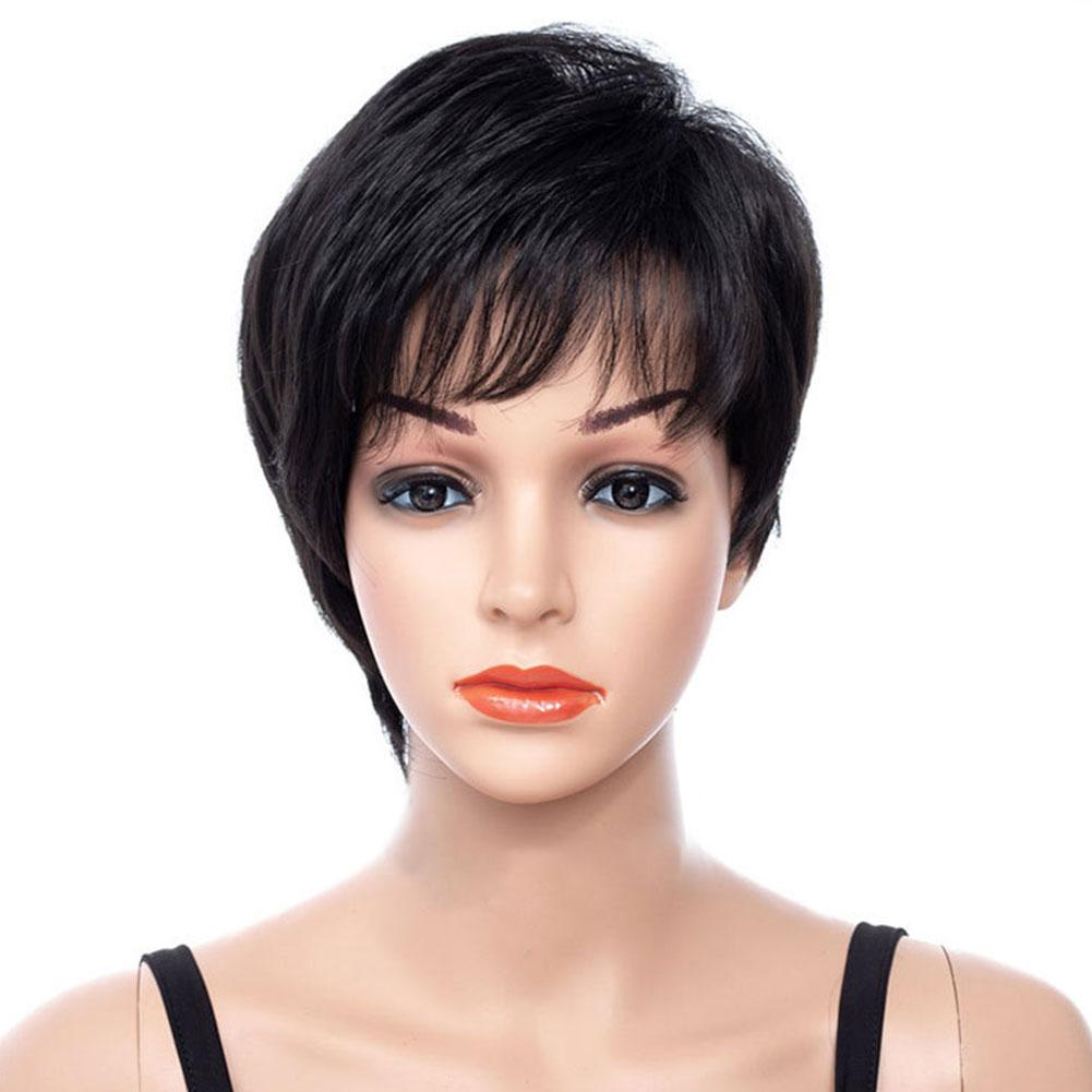 Salon Natural Easy Clean Fashion Daily Black Short Hair Fluffy Synthetic Fiber Curly Cosplay Styling Wavy Women Wig