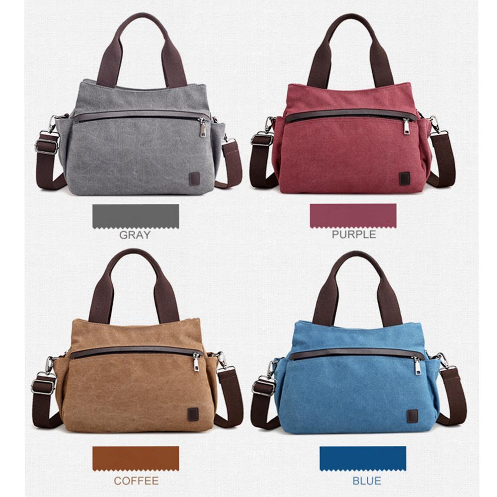 7c6a0706e0ac Woman Canvas Single Shoulder Bag Multifunctional Zipper Bag Solid ...
