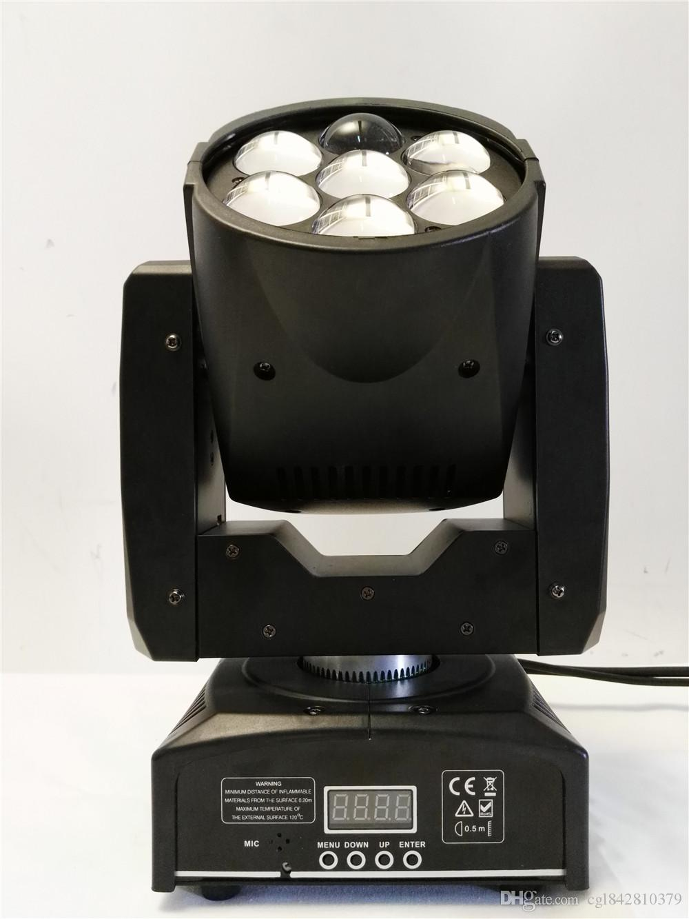 Zoom LED 7x12w RGBW 4in1 Luce a testa mobile DMX512 Wash Light / Zoom Light DJ professionale / Bar / Party / Show / Stage Light