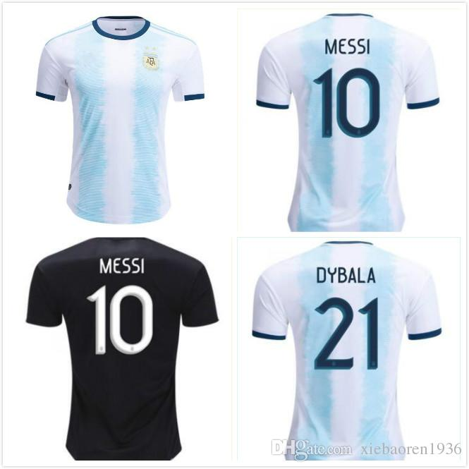 60ab8e8cbc 2019 1 2019 2020 Copa America Argentina Home Blue White Soccer Jersey 19/20  #10 Messi Soccer Shirt Customized Short Sleeve Football Uniform Sales From  ...