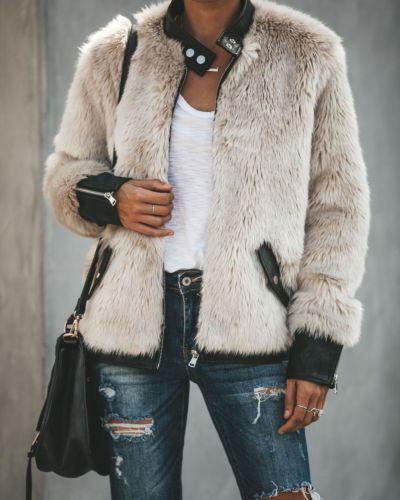 Mode Frauen Damen Neue Winter Warme Teddybär Fleece Tops Jacke Reißverschluss Oversize Outwear Mäntel