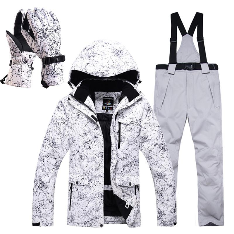 672051d4ec Inverno sci tuta da uomo di alta qualità giacca da sci e pantaloni da neve  caldo impermeabile antivento sci e snowboard tute guanti