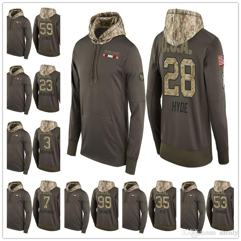 lowest price 5549f 19fc8 Men Youth Women 49ers Salute to Service Sideline Therma Pullover Hoodie  Cameron Sutton Navorro Bowman Carlos Hyde DeForest