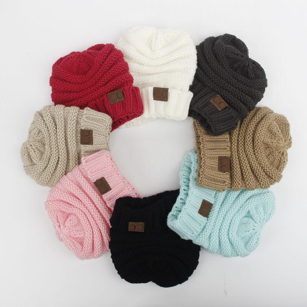 Children s Knitted Woollen Cap Outdoor Thermal Girls Solid Fashion ... 210acec91551