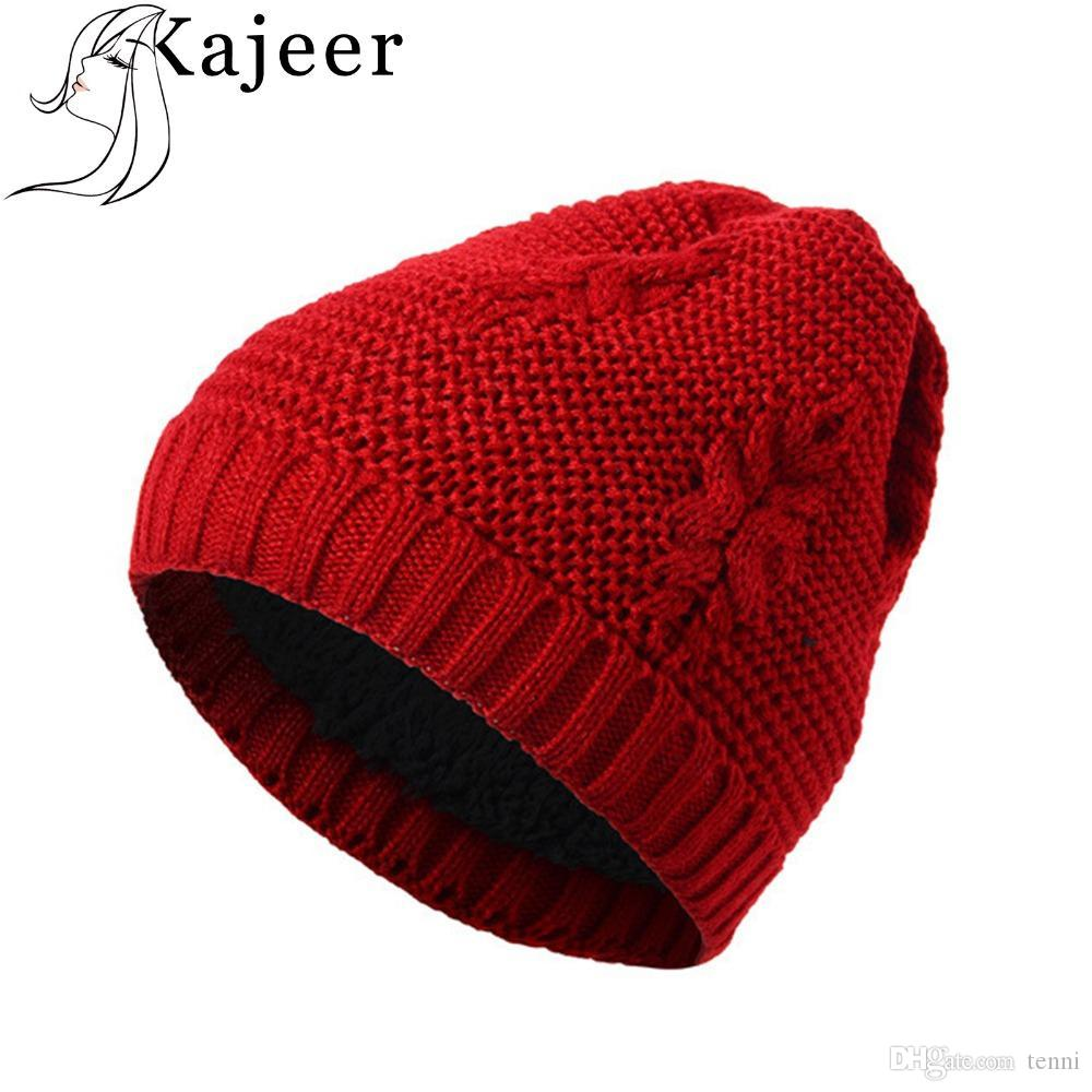 a8350f77f08 Kajeer New Fashion Winter Quality Acrylic Hat Knitted Hat Pointy For  Women Ladies Winter Warm Men S Knit Cap Slouch Beanie Ski Hats From Tenni