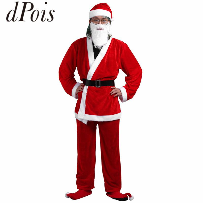 DPOIS Men Adult Red Soft Velvet Christmas Costume Coat Pants Belt Hat Beard Set Xmas Santa Claus Costumes Cosplay Party Clothes