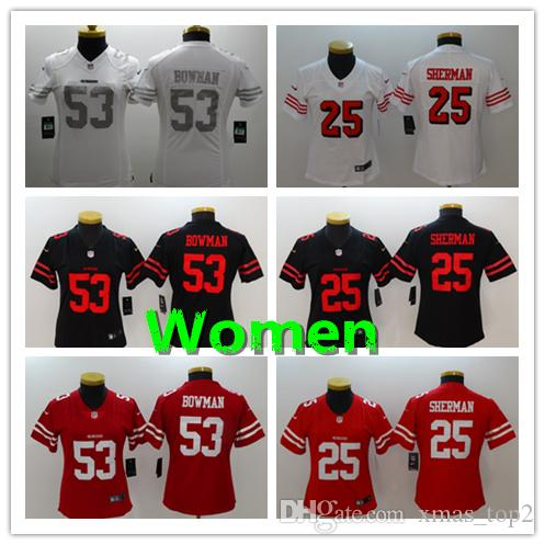 new arrivals 55e37 c8823 Women 53 NaVorro Bowman Jersey San Francisco 49ers Football Jersey Stitched  Embroidery 25 Richard Sherman Color Rush Women Football Shirt
