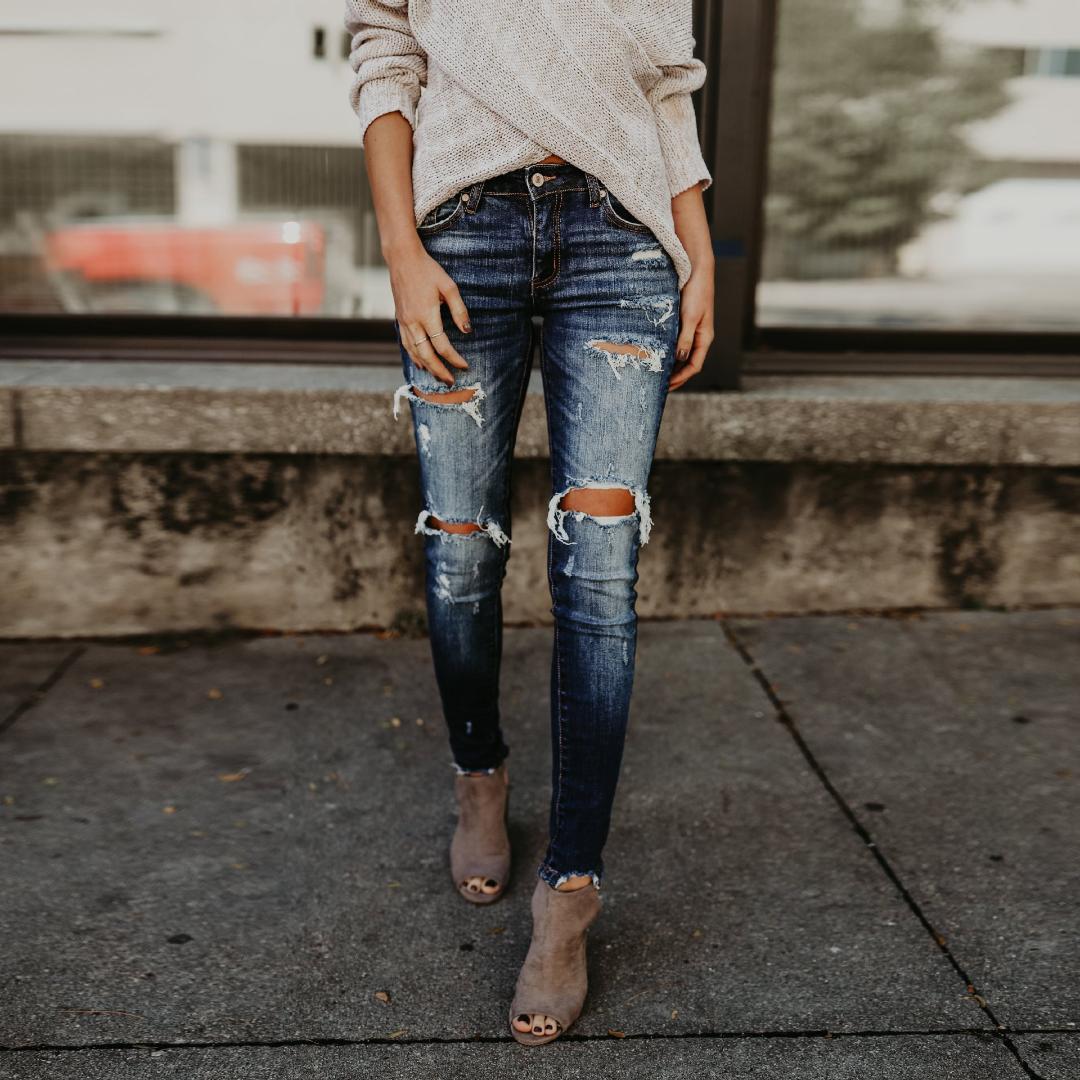 9d634d1bb5e 2018 Fashion Stretch Ripped Denim Jeans Women Casual Dark Blue Bleach Wash  Distressed Pencil Pants Trousers Skinny Jeans HD1545 Jeans Cheap Jeans 2018  ...