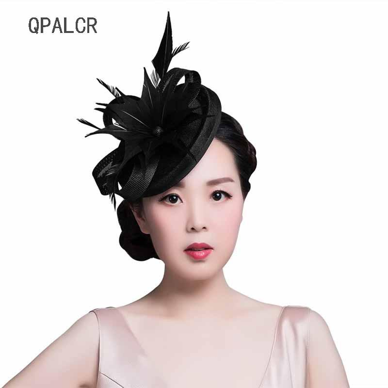 209b937e1 QPALCR Lady Women Fascinators Black Pillbox Hat Red Mesh Floral Wedding  Hats Vintage Cocktail Fedoras Feather Hair Clip Hat