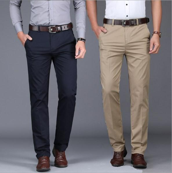 027b711e7 Men s Slim Fit Suit Pants Men Spring Autumn Black Blue Khaki Formal Wedding  Business Straight Male Trousers Office Dress Pants