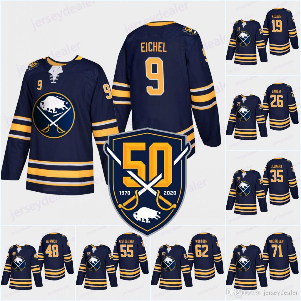 timeless design c11ad 1fa71 Buffalo Sabres Navy 50th Anniversary Jersey 9 Jack Eichel 26 Rasmus Dahlin  15 Jack Eichel 90 Ryan OReilly Blank Hockey Jersey High-quality