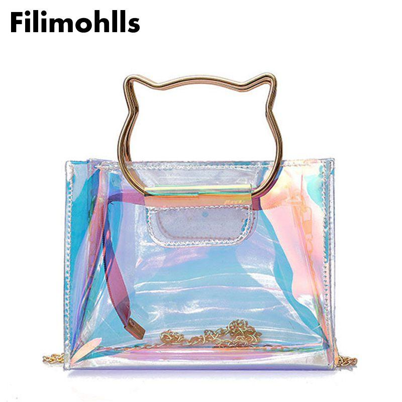 Clear Transparent PVC Shoulder Bags Women Candy Color Women Jelly Bags Purse Solid Color Handbags Crossbody Bag F-469