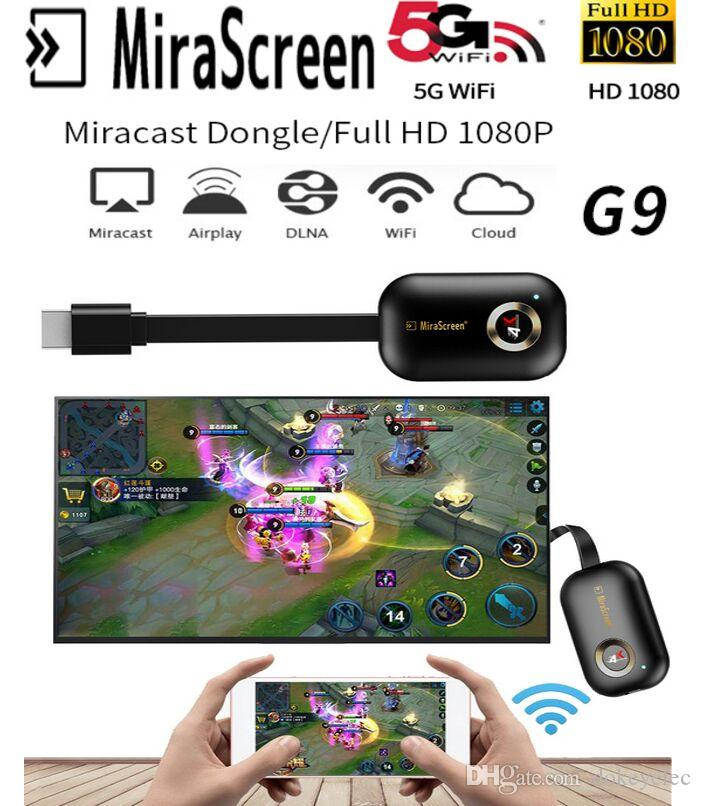 Original MiraScreen G9 Wireless Wifi Display HDMI Dongle 2 4Ghz/ 5G 4K  1080P HDTV Stick Miracast Airplay Mirroring for iPhone X iOS Android