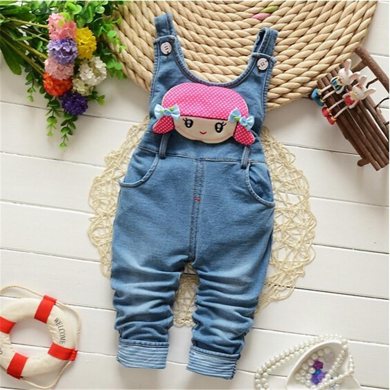 e42b2659230 good quality children pants Baby girls cute cartoon cowboy suspender  trousers jeans pants kids clothing Spring/Autumn