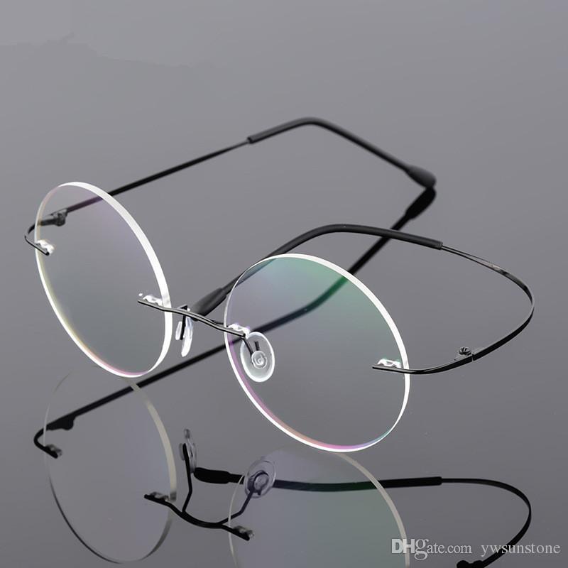 dd8c6a0482775 Compre Alta Qualidade Steve Jobs Estilo Liga Sem Aro Óculos De Prescrição  Óptica Quadro Redondo Lente Clara Óculos Frete Grátis De Ywsunstone