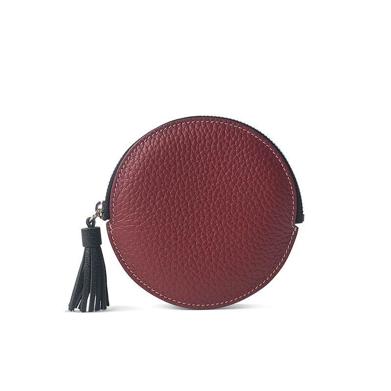 ef4ea439e927 Round Heart Design Cowhide Leather Ladies Wallets Tassel Zipper Coin Bag  Purse Card Holder Key Chain Money Bags for Girls