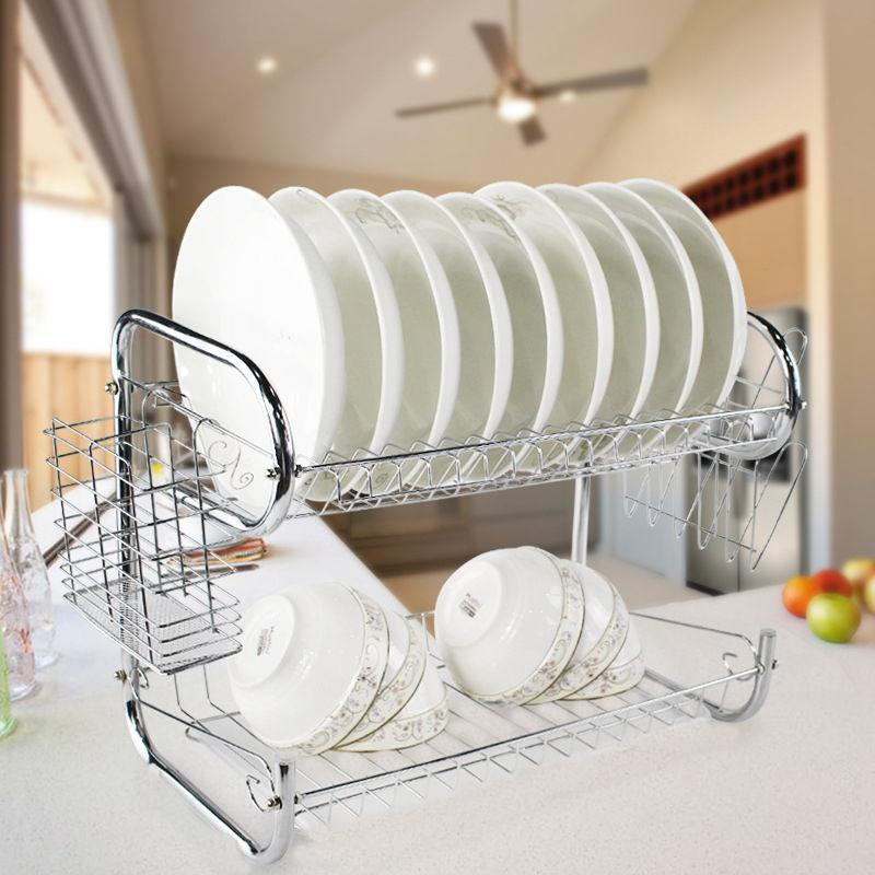 itchen Storage Organization Racks Holders Multi-Functional Double Layer Kitchen Metal Dish Drying Rack Shelf Holder Vegetables Fruit Tabl...