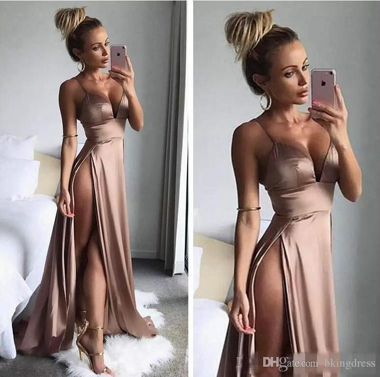 Sexy Thigh High Slits Dresses Evening Wear 2019 Newest Simple Long Party Dress Spaghetti Straps Deep V Neck A Line nude pink Prom Gowns