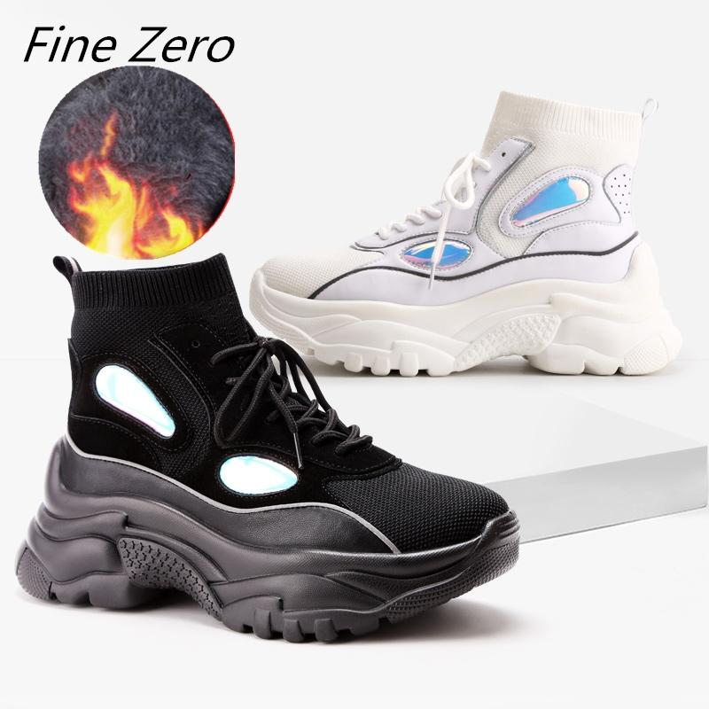 Fine Zero New High Top Platform Sneakers Women Glitter Snow Boots Sock Shoes  Woman Unisex Dad Chunky Sneakers Zapatos De MuJjer Slipper Boots Ankle  Booties ... c2ccbfc3b867