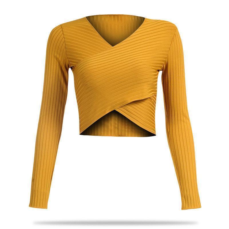 f33109f9e27 Compre Trendy Women Lady Camiseta Sólido Negro Amarillo Verde Manga Larga  Sólido Tops Jersey Delgado Casual Camisetas Con Cuello En V Una Pieza A   25.98 Del ...