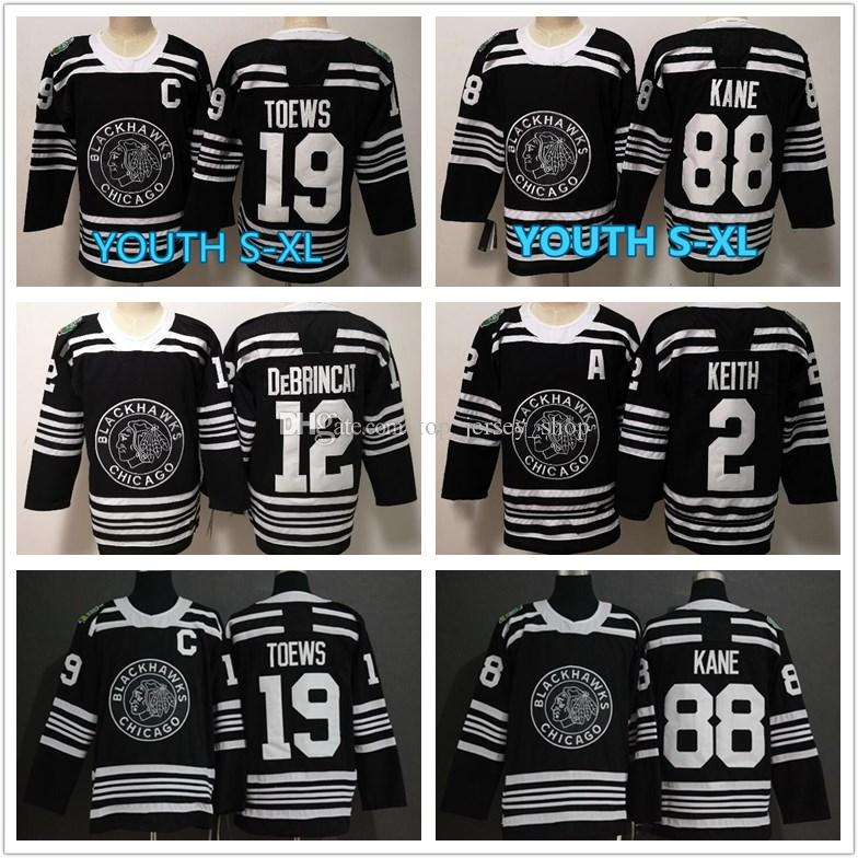 official photos 6dc30 bee4f 2019 Winter Classic Jerseys men and youth kids 19 Jonathan Toews 88 Patrick  Kane Alex DeBrincat Duncan Keith Black Hockey Jerseys wholesale