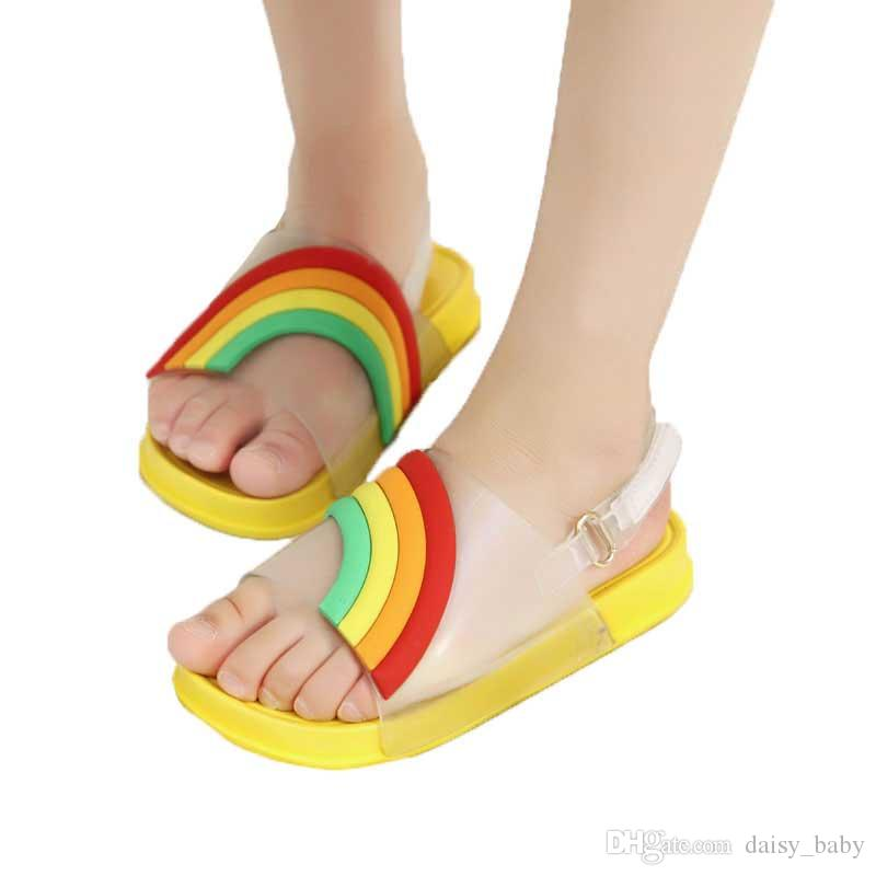 16b24a8c9 Boys Sandals 2019 Summer Kids Rainbow Beach Shoes Toddler Sandal Girls  Pinkycolor Sandals Non Slip Children Shoes Green  18 NZ 2019 From  Daisy baby
