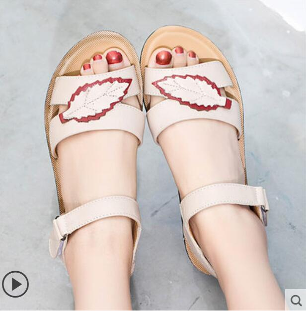 459ab9e0424 Womens Low Heel Sandals Leather Solid Strap Women Sandals Non-slip Hook &  Loop Summer Shoes
