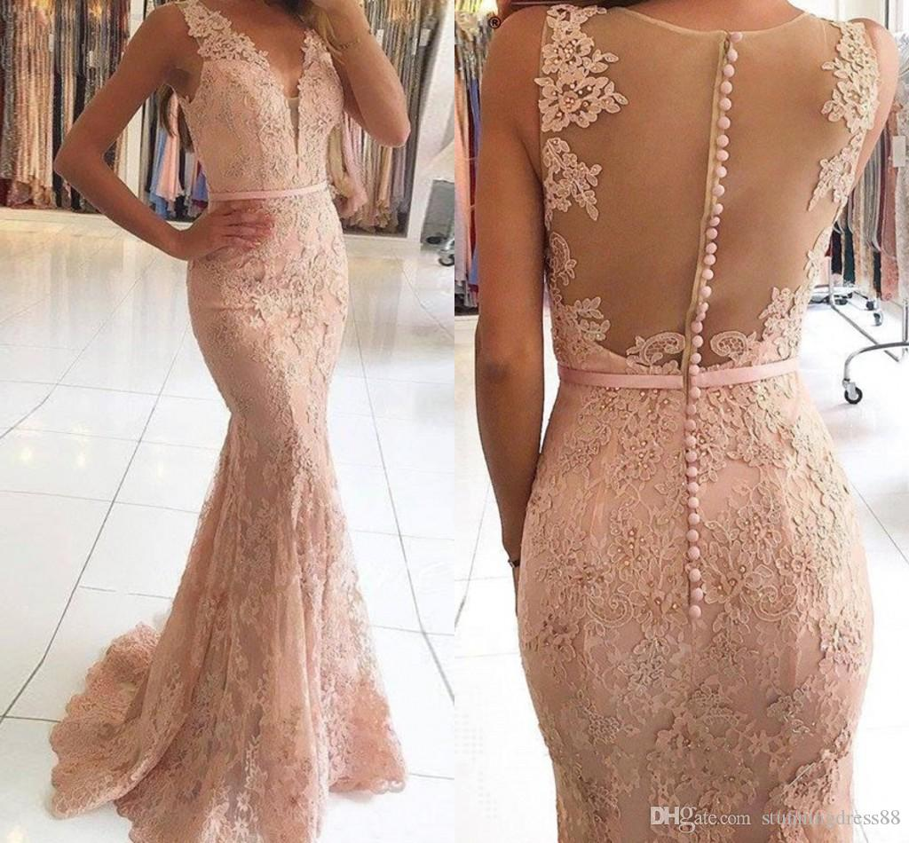 a729e1b152784 Elegant Coral Appplique 2019 Prom Dresses Evening Gowns Cheap V Neck  Mermaid Lace Sequins Long Hollow Back Party Formal Pageant Dress Cheap Quiz  Prom ...