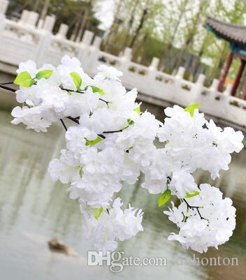 Wholesale artificial cherry blossom 1Meter long 4 Branches Each Bouquet supper dense cherry blossom wedding decorations silk sakura