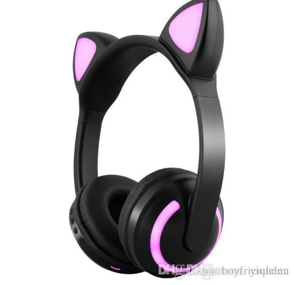 f1de098efe3 Cat Ear Headphones 7 Flashing Bright Ear Bluetooth Headset For Girls Kids  Game Deer Devil Rabbit Ear Individually Wrapped Wireless Earbuds Best  Headphones ...