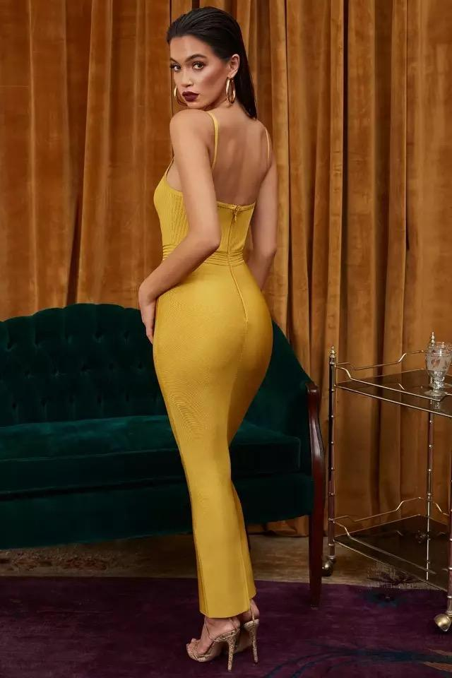 781c29be13 Women s Bandage Dress New 2019 Summer Celebrity Party Yellow Strap Tube Top  MAXI Long Dress Vestidos Sexy Fashion suit
