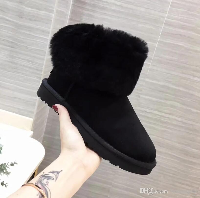 Snow boots female sheep fur one hair ball waterproof non-slip 2018 winter short boots cotton shoes stars tassels in the boots women
