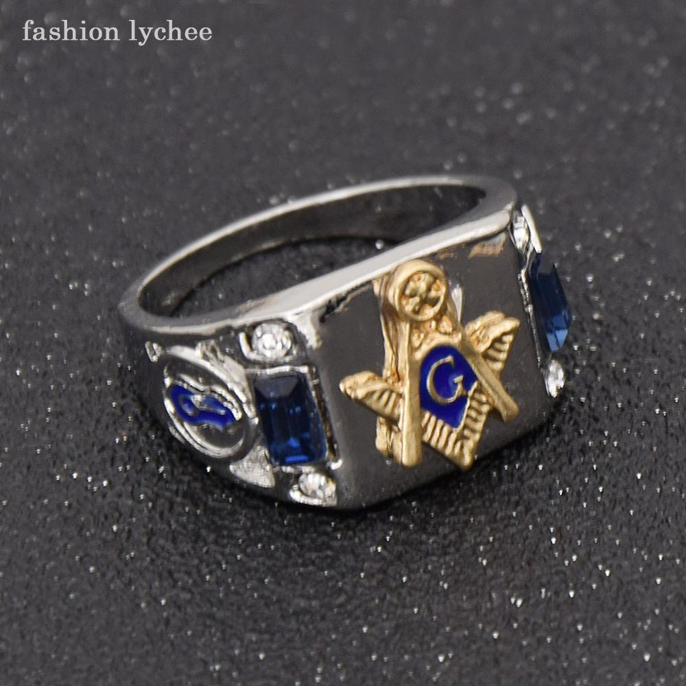 fashion lychee Freemason Blue Crystal Men Ring Punk Style Masonic Fashion Biker Finger Rings Jewelry Gift