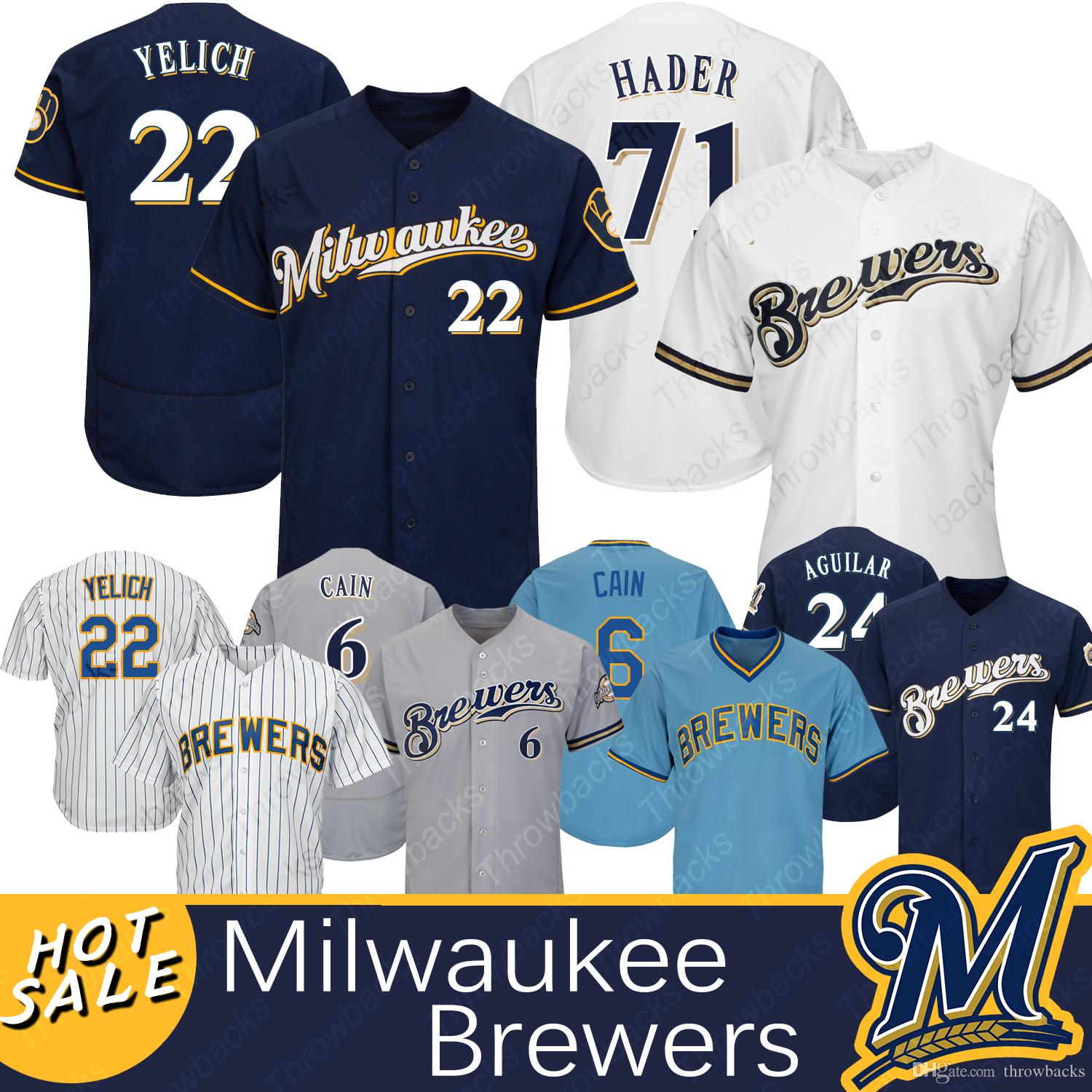 separation shoes 03bf2 514d9 Milwaukee Brewers jersey 22 Christian Yelich 71 Josh Hader 24 Jesus Aguilar  6 Lorenzo Cain Baseball Jerseys