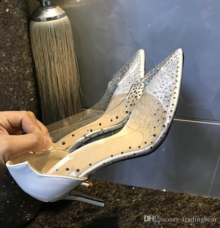 Ven con la parte inferior Tacones altos Vestido cristalina clara logotipo rojo y zapatos de boda de la caja de lujo de zapatos Tamaño 35 a 40 41
