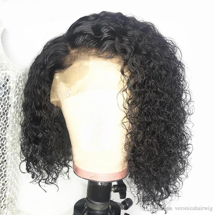 Free Shipping Lace Front Human Hair Wigs Curly Brazilian Remy Hair 150% Density Pre Plucked Short Bob Full Lace Wigs With Baby Hair