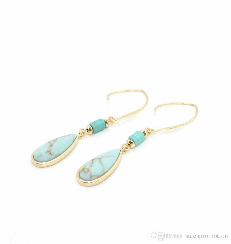 Gold Waterdrop White Green Turquoise Marble Earrings Natural Stone Charms Dangle Earrings Jewelry For Women