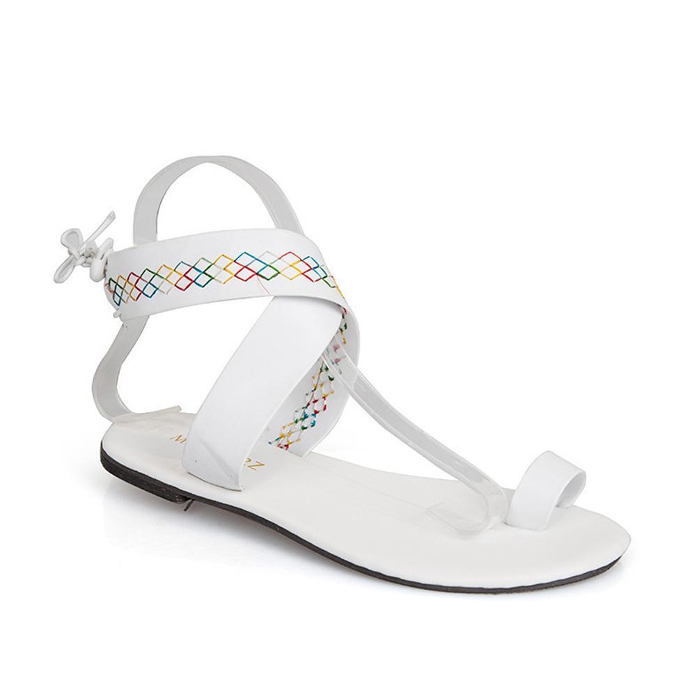 ca5b0f85540 Ethnic Style Faux Leather Flat Toe Sandals Roman Flip Flops Beach ...